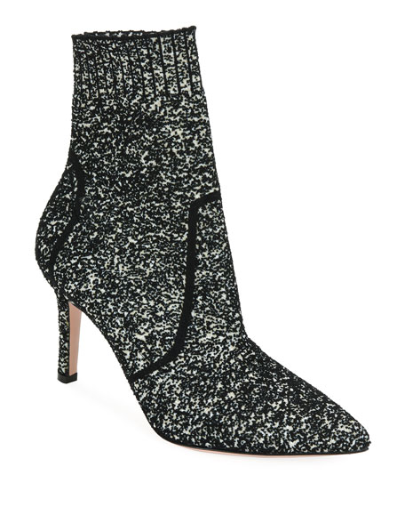 Gianvito Rossi Glitter Boucle Knit Pull-On Booties