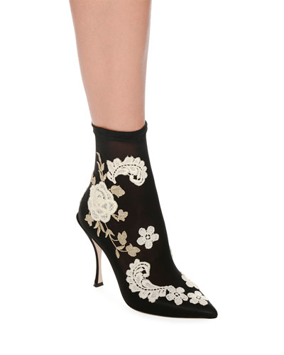 Embroidered-Knit Sock Ankle Booties