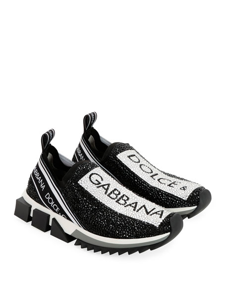 d7b062113eca1 Dolce & Gabbana Crystal Logo Slip-On Trainer Sneakers