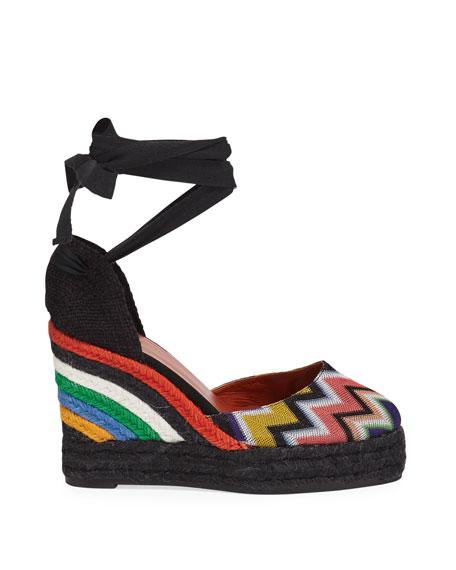 x Missoni Carina 100mm Stripe Knit Platform Espadrilles