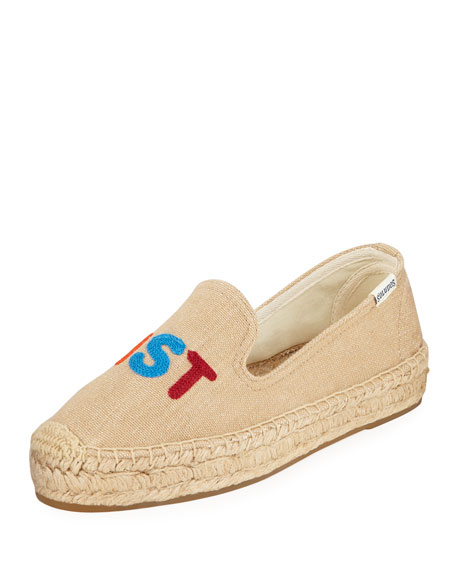 Feminist Embroidered Espadrilles Smoking Slippers
