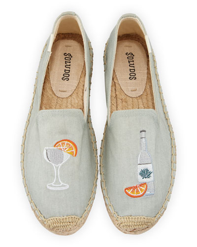 Agave Embroidered Espadrille Smoking Slippers