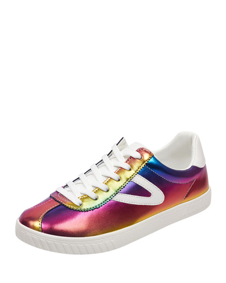 Tretorn CAMDEN METALLIC LEATHER LOW-TOP SNEAKERS