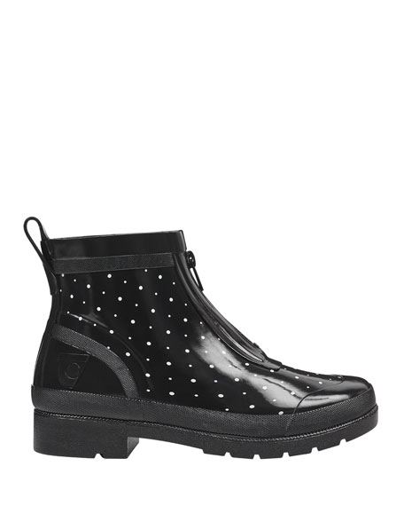 Lina Zip Dotted Rubber Rain Boots