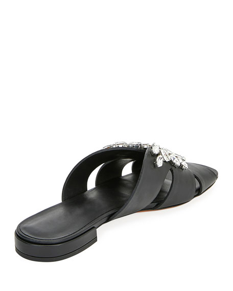 bc086d0c3d51 Miu Miu Rhinestone Embellished Flat Sandals