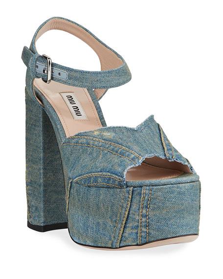 8fb88a4d6606 Miu Miu Denim Platform Sandals