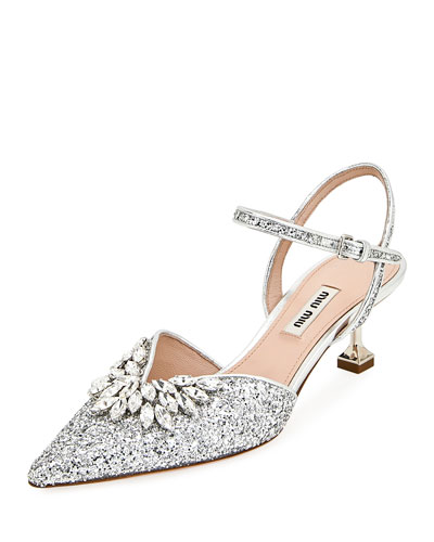 Embellished Glittered Leather Pumps