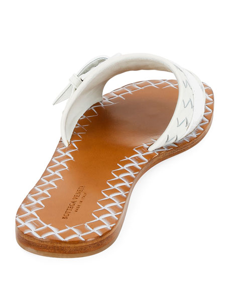 Flat Intrecciato Leather Slide Sandals