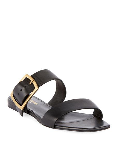 117f835e7 Saint Laurent Jodie Flat Leather Slide Sandals