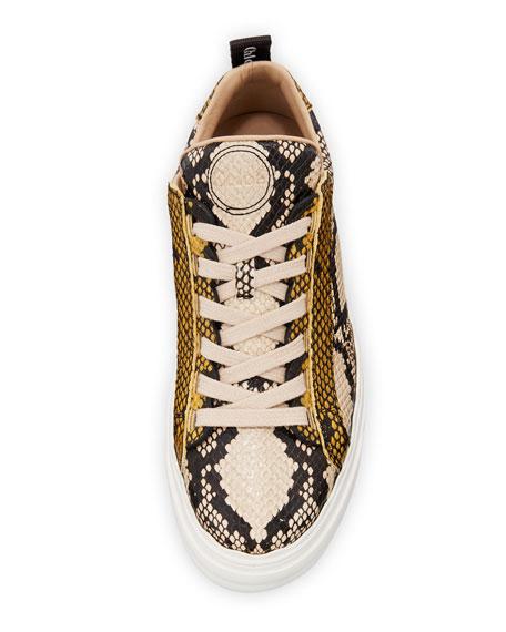 Lauren Python-Embossed Leather Sneakers