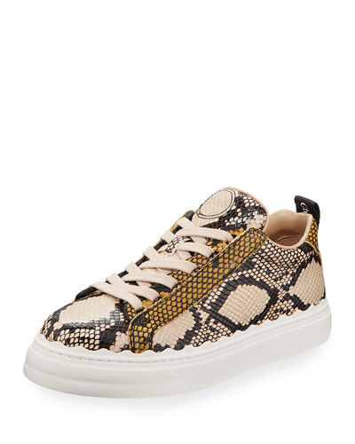 Lauren Python-Embossed Leather Sneakers