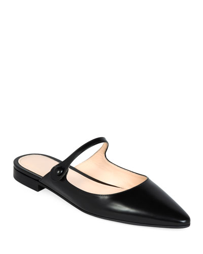 Mary Jane Leather Button Mules