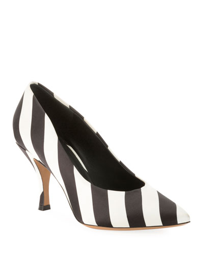 Striped Pointed Slip-On Pumps