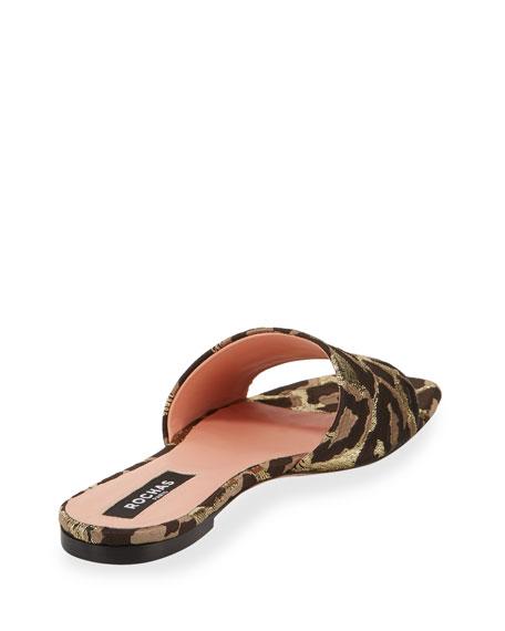 Leopard Brocade Flat Sandals