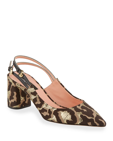 Rochas CHEETAH BROCADE POINTED PUMPS