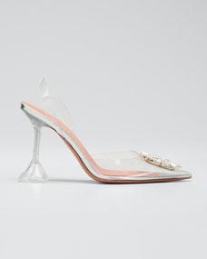 Begum Glass Transparent Sandals by Amina Muaddi
