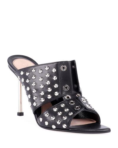 Studded Leather Slide Sandals