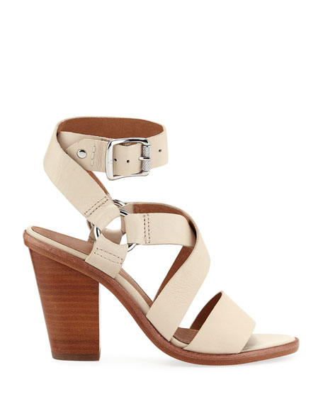 Sara Ankle-Wrap Leather Sandals