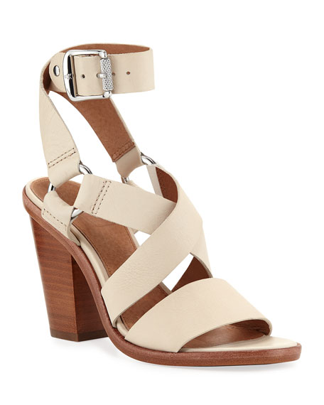 Frye Sara Ankle-Wrap Leather Sandals