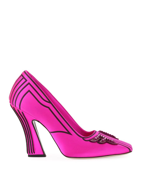 Freedom Embellished Satin Logo Pumps, Pink