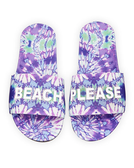 Schutz Beach Please Printed Leather Slides