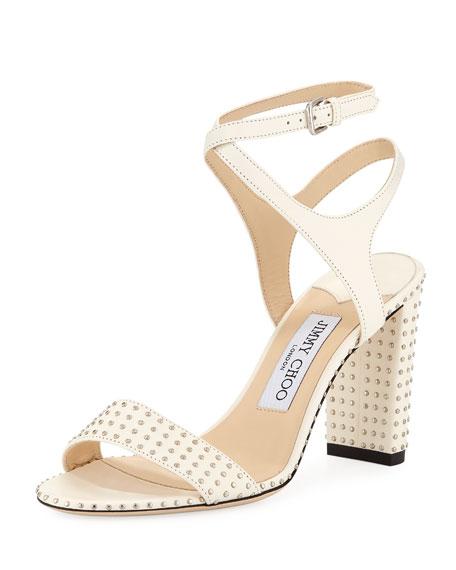 c290cd7977 Jimmy Choo Marine Studded Leather Block-Heel Ankle-Strap Sandals