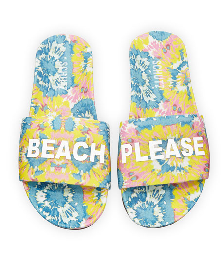 Beach Please Pool Slide Sandals