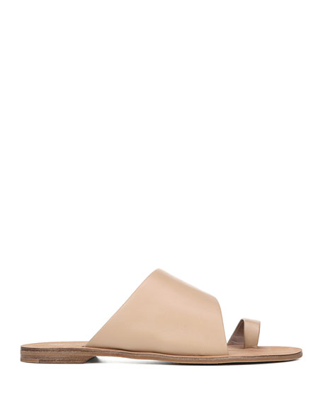 Brittany Flat Leather Slide Sandals