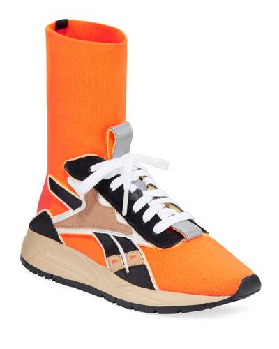 Bolton Stretch-Knit Sock Sneakers  Orange