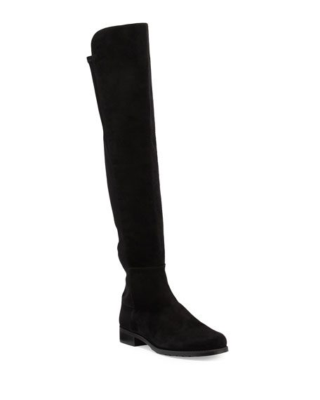 Stuart Weitzman 50/50 Suede Stretch Over-The-Knee Boots, Black