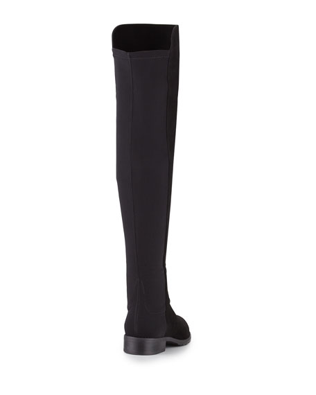 50/50 Suede Stretch Over-The-Knee Boots, Black