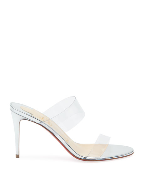 Just Nothing Illusion Red Sole Mules, Silver