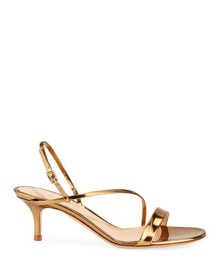 Strappy Low-Heel Metallic Leather Sandals