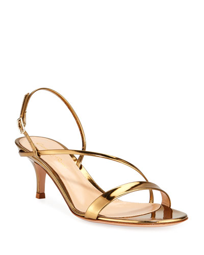 932701f1f Strappy Low-Heel Metallic Leather Sandals