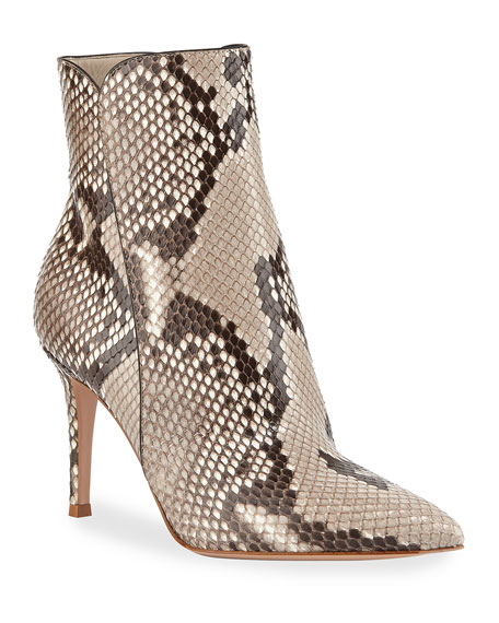 Python Pointed-Toe Ankle Booties