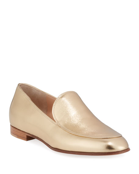 Metallic Leather Flat Loafers
