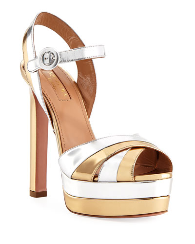 Coquette Metallic Leather Platform Sandals