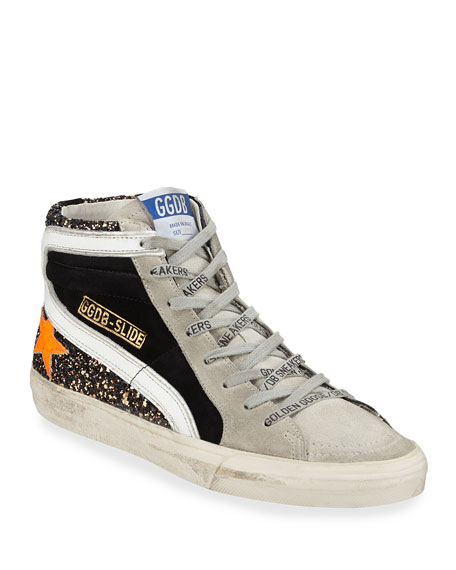 Glitter Suede High-Top Sneakers