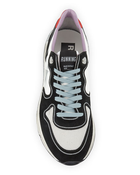 Glittered-Sole Lace-Up Running Sneakers