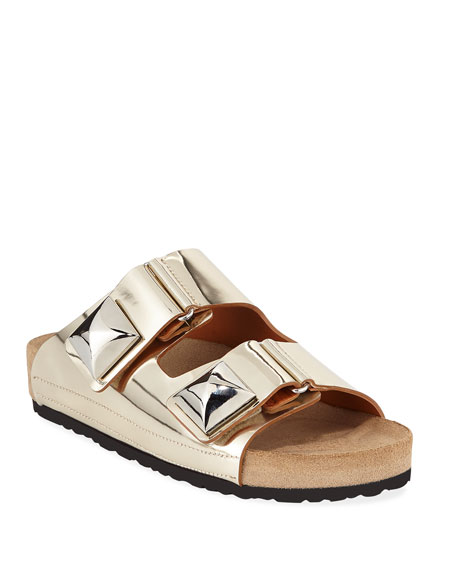 Metallic Grip-Strap Flat Sandals, Gold