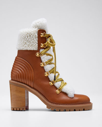 8addfd963e6 Yetita Red Sole Hiker Booties with Shearling Collar Quick Look. Christian  Louboutin