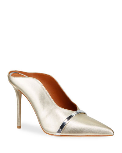 Metallic Leather Crossover Strap Mule Pumps