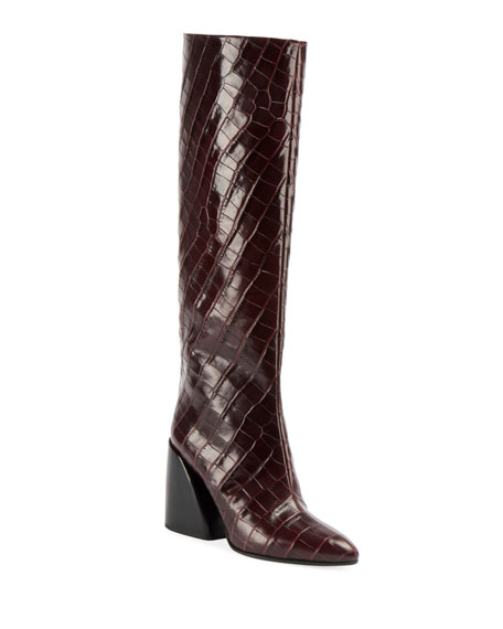 Wave Croc-Embossed Tall Boots