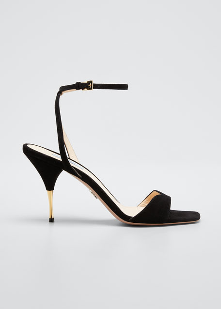 Suede Ankle-Strap Sandals