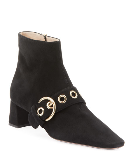 Suede Block-Heel Booties