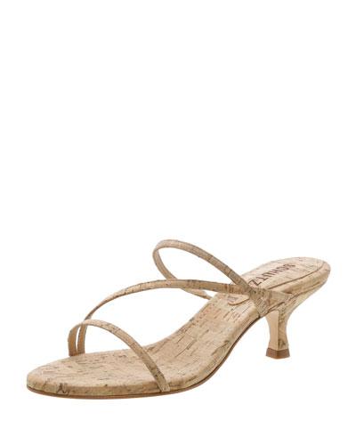 Evenise Strappy Kitten-Heel Cork Sandals