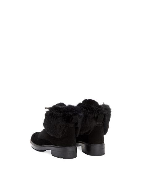 Lacy Suede Combat Boots w/ Fur Trim