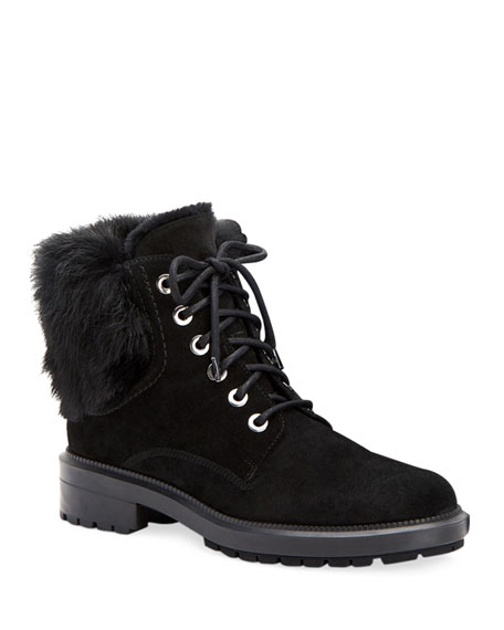 Image 1 of 1: Lacy Suede Combat Boots w/ Fur Trim
