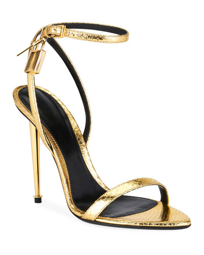 Laminated Printed Python Sandals