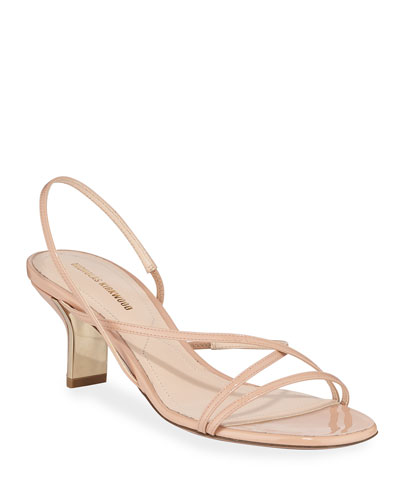 60mm Leeloo Strappy Patent Leather Sandals  Nude